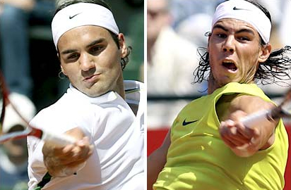 Rafael Nadal, Roger Federer In Action In Monte Carlo Quarterfinals